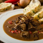 Classic Czech goulash with dumplings, delicious heavy food, homemade Karlovarsky dumplings