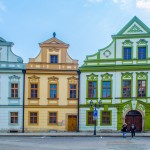 view of colorful facades of old style houses situated next to the velke namesti square in historical part of czech city hradec kralove