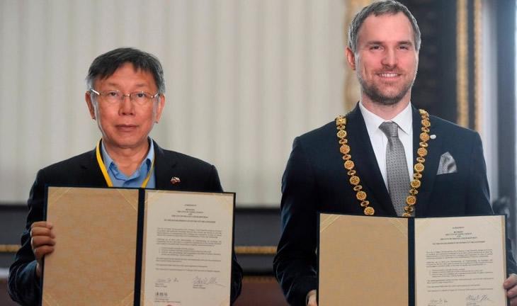 プラハ・台北市姉妹都市協定に調印